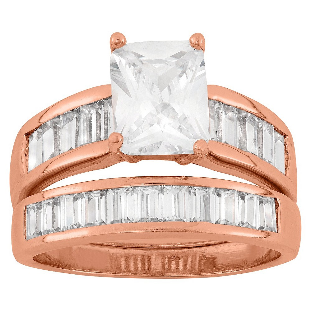 5.12 CT. T.W. Cubic Zirconia 2 Piece Bridal Set Ring In 14K Rose Gold Over Silver - (8), Girl's