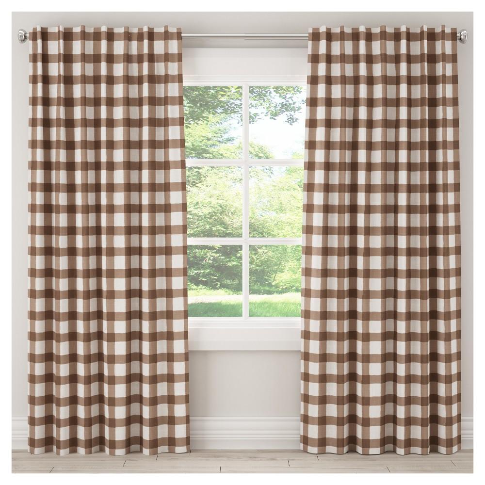 Blackout Buffalo Check Curtain Panel Brown (50