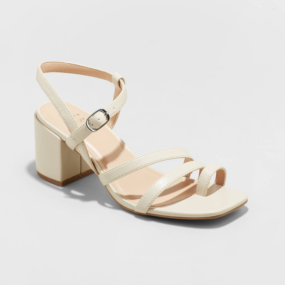 Women 39 S Ramona Strappy Block Heeled Sandals A New Day 8482 Cream 7 5