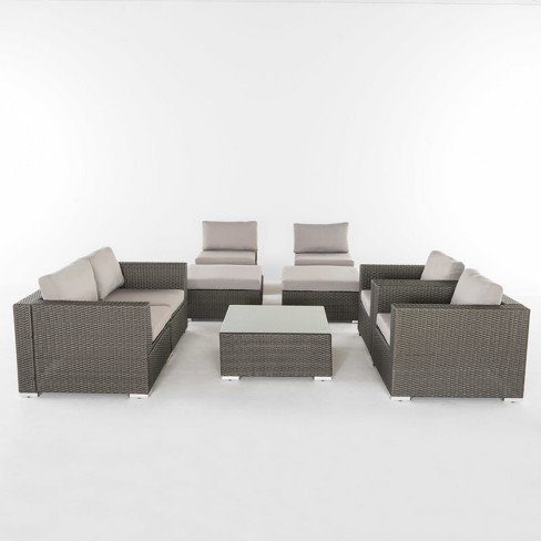 Santa Rosa 9pc All-Weather Wicker Patio Chat Set - Christopher Knight Home - image 1 of 3