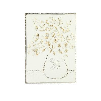 """24"""" Embossed Flowers in Vase Distressed Metal Wood Wall Décor - 3R Studios"""