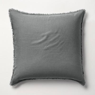 Euro Heavyweight Linen Blend Pillow Sham Dark Gray - Casaluna™