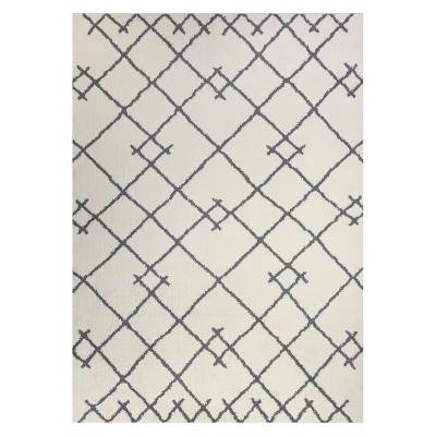 5'X7' Kenya Fleece Tribal Design Tufted Area Rug Cream - Project 62™