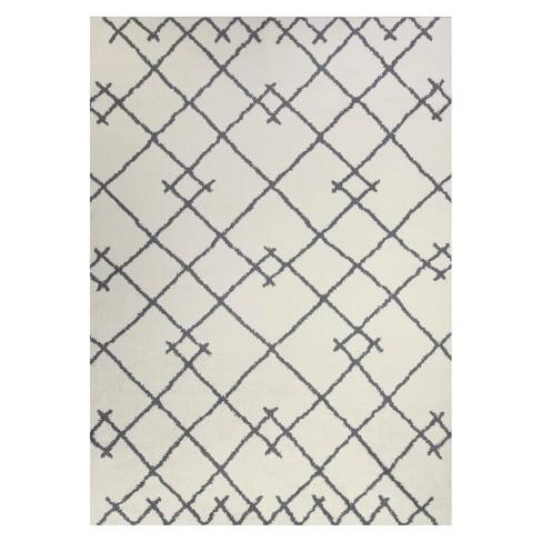 5'X7' Kenya Fleece Geometric Design Tufted Area Rug Cream - Project 62™ - image 1 of 3