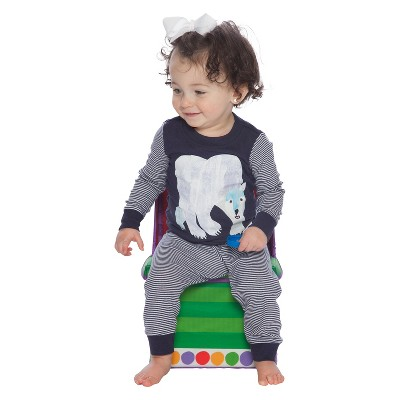 Baby Boys' Eric Carle Polar Bear 2pc Tight Fit Long Sleeve Pajama Set - Blue 12M