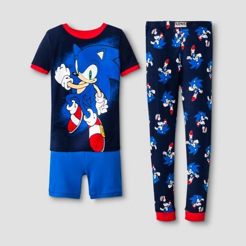 b6c8b13594 Boys' Sonic The Hedgehog 3pc Pajama Set - Blue : Target