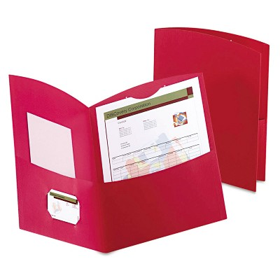 Oxford Contour Two-Pocket Folder Recycled Paper 100-Sheet Capacity Red 5062558
