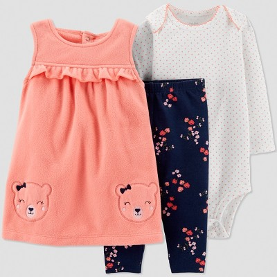 Baby Girls' 3pc Bear Jumper Set - Just One You® made by carter's Coral Newborn