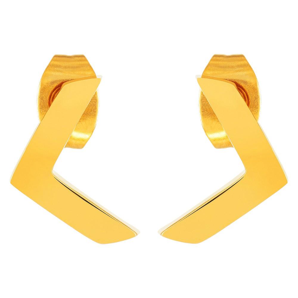 Image of ELYA Chevron Stud Earrings - Gold, Women's