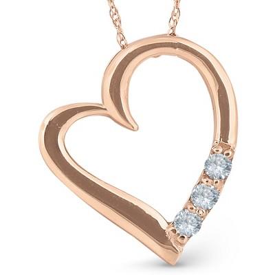 "Pompeii3 Diamond Heart Pendant Necklace 18"" 3-Stone 14K Rose Gold"