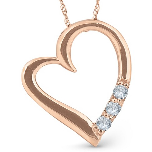 "Pompeii3 Diamond Heart Pendant Necklace 18"" 3-Stone 14K Rose Gold - image 1 of 3"