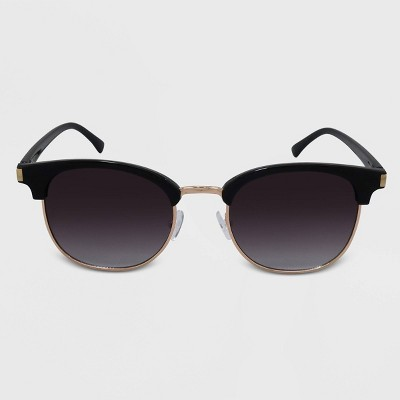 Women's Retro Plastic Metal Combo Silhouette Square Sunglasses - Wild Fable™ Black