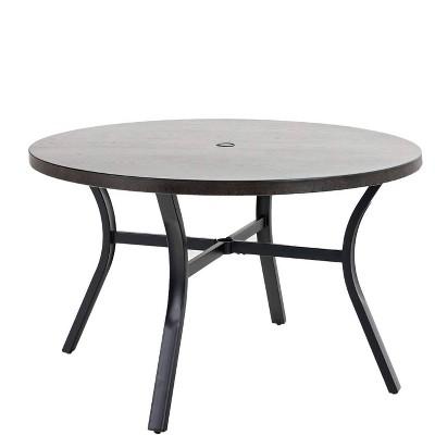 "48"" Metal Round Dining Table with 1.97"" Umbrella Hole - Black - Captiva Designs"