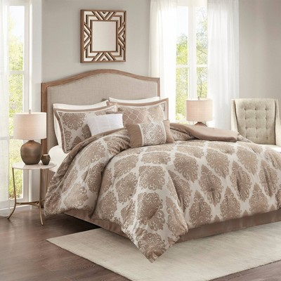 King 7pc Rayner Jacquard Comforter Set Tan