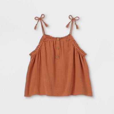 Girls' Button-Front Babydoll Tank Top - art class™ Orange