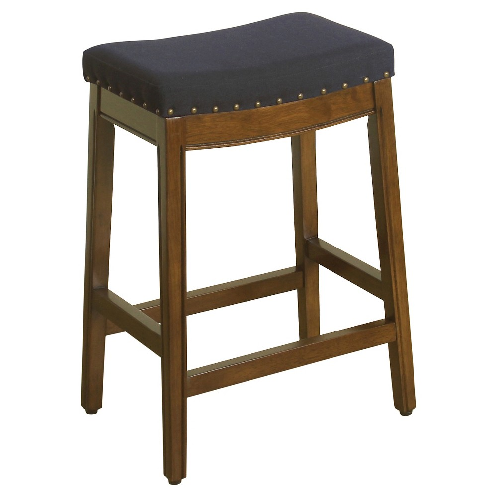 "Image of ""24"""" Blake Backless Counter Stool with Nailheads Blue Graphite - HomePop"""
