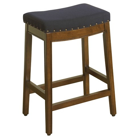 Amazing Blake 24 Backless Counter Stool With Nailheads Blue Graphite Homepop Cjindustries Chair Design For Home Cjindustriesco
