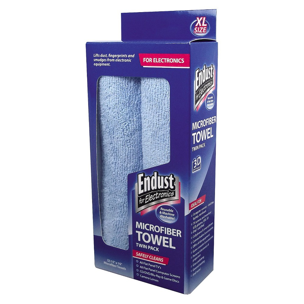 Image of Endust for Electronics Large - Sized Microfiber Towels Two - Pack - 15 x 15 - Unscented - Blue (2/Pack)