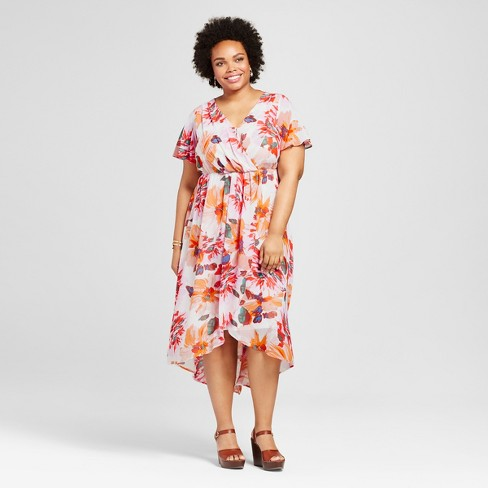 Womens Plus Size Floral Print V Neck Maxi Dress Off White
