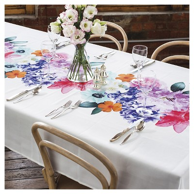 90 x59  Coral Tablecloth White - Ladelle