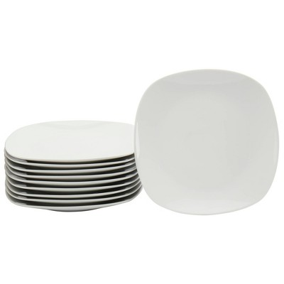 """8"""" 10pk Porcelain Square Catering Salad Plates White - Tabletops Gallery"""