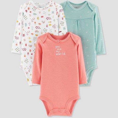Baby Girls' 3pk You are my World Bodysuit - Little Planet by Carter's Melon 3M