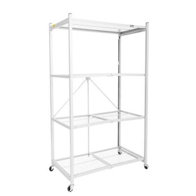 "Origami Wheeled 4-Shelf Folding Steel Wire Shelving, White (21"" x 36"" x 60"")"