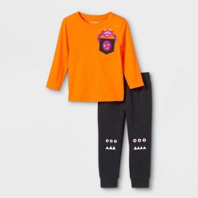 Toddler Boys' 2pc Halloween Monster Long Sleeve T-Shirt and Fleece Jogger Pants Set - Cat & Jack™ Orange