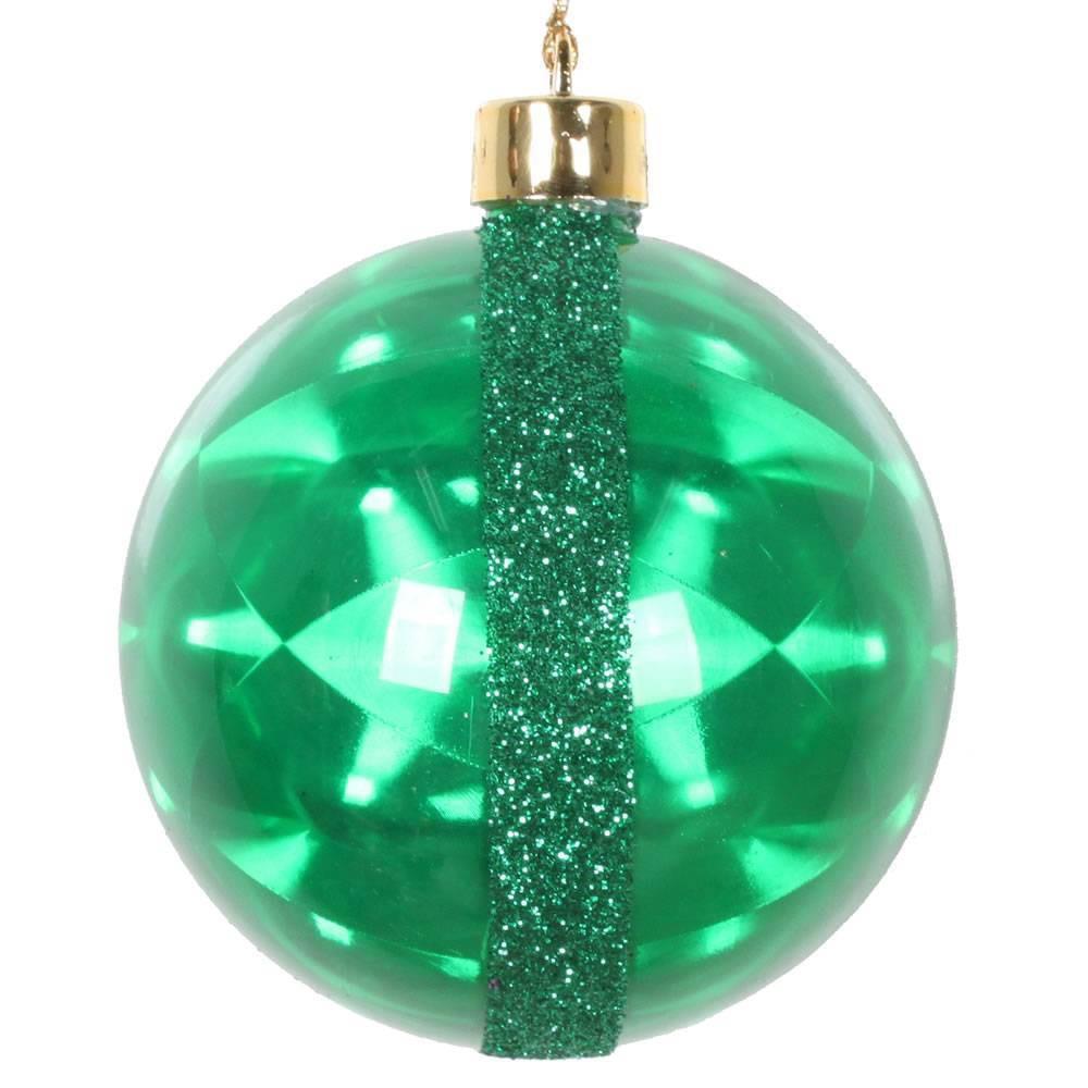 "Image of ""6ct Vickerman 3"""" Glitter Reflector Ornament Set Green"""