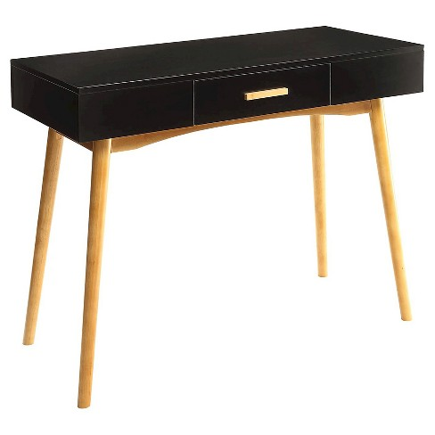 Oslo 1 Drawer Desk - Black - Convenience Concepts - image 1 of 3
