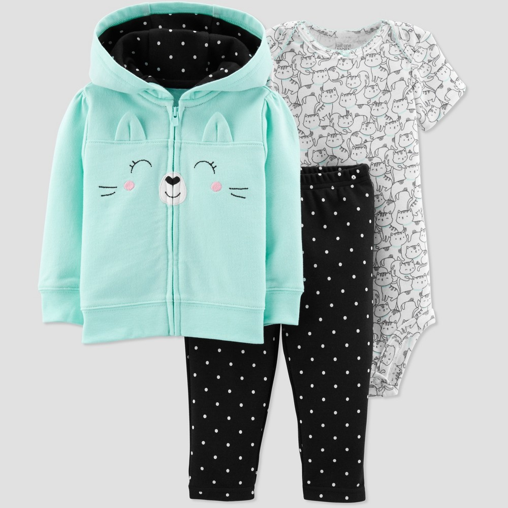 Baby Girls' 3pc Cat Cardigan Set - Just One You made by carter's Mint 3M, Blue