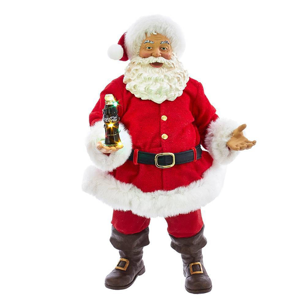 "Image of ""10.5"""" Kurt Adler Coca-Cola Santa with LED Bottle Table Piece Decorative Sculpture"""