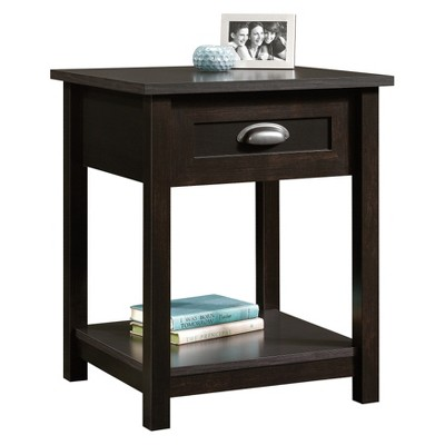 County Line Nightstand With Drawer and Storage Shelf - Estate Black - Sauder