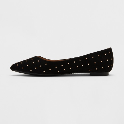 Women S Hillary Pointed Toe Ballet Flats A New Day Vintage Black Target