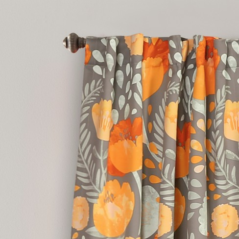 Poppy Garden Room Darkening Window Curtain Panels Yellow Gray 52 X84 Set Lush Decor Target