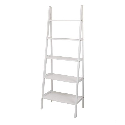 Casual Home 6 Foot 5 Shelf Wood Ladder Storage Organizer Bookcase Rack Utility Shelving Unit, White