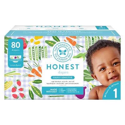 Honest Company Diapers Club Pack, Garden Party - Size 1 (80ct)