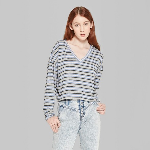2c1958230 Women's Striped Long Sleeve V-Neck Boxy Hacci Top - Wild Fable™ Heather Gray