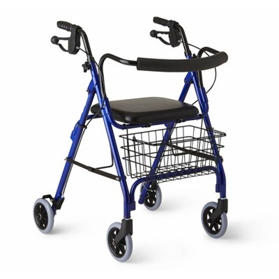 Medline Deluxe Rollator with Curved Back - Blue