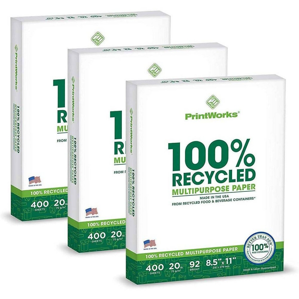 3pk 400 Sheets Pack 20lb 100 Recycled Multipurpose Paper 8 5 34 X11 34 92 Bright Printworks