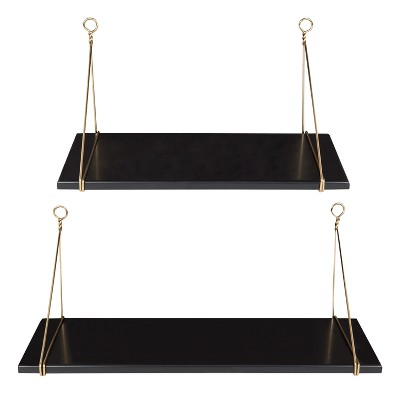 24  x 9.8  2pc Vista Wood and Metal Shelf Set Black/Gold - Kate & Laurel All Things Home
