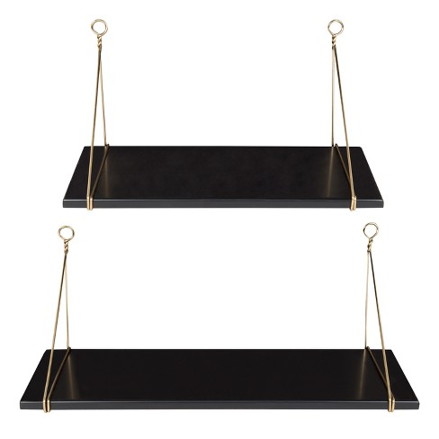 Decorative Wall Shelf Set of 2 - Black/Gold - image 1 of 3