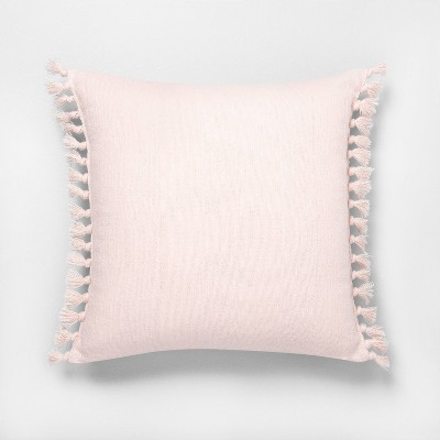 """18"""" x 18"""" Wide Stripe Knotted Fringe Throw Pillow Peach - Hearth & Hand™ with Magnolia"""