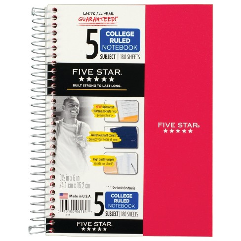"6ct 5 Subject Spiral Notebook College Ruled 9.5"" x 6"" Classic Colors - Five Star - image 1 of 4"