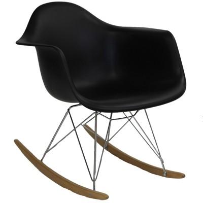 Rocker PP Plastic Lounge Chair Black - Modway