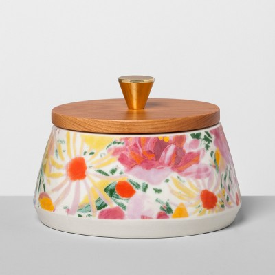 Floral Stoneware Canister with Wood Lid S Pink - Opalhouse™