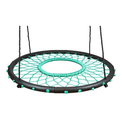 Swinging Monkey Giant 40 Inch Diameter 400 Pound Weight Capacity Tarzan Spider Web Fabric Outdoor Tree Saucer Swing, Teal