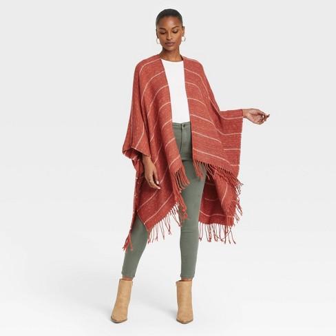 Women's Stripe Wrap Jacket - Universal Thread™ Rust - image 1 of 3