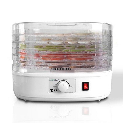 NutriChef PKFD06 Kitchen Countertop Electric Food Dehydrator Preserver Machine with Adjustable Temperature and 5 Stackable Tray Racks