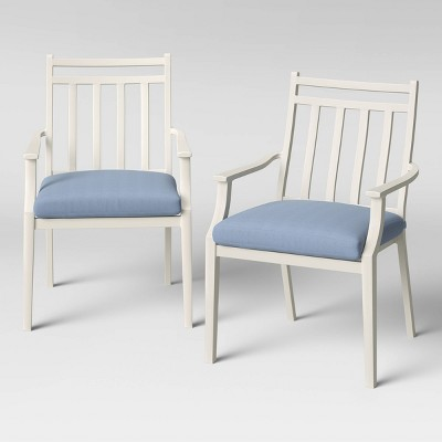 Fairmont 2pk Stationary Patio Dining Chairs - White/Chambray - Threshold™
